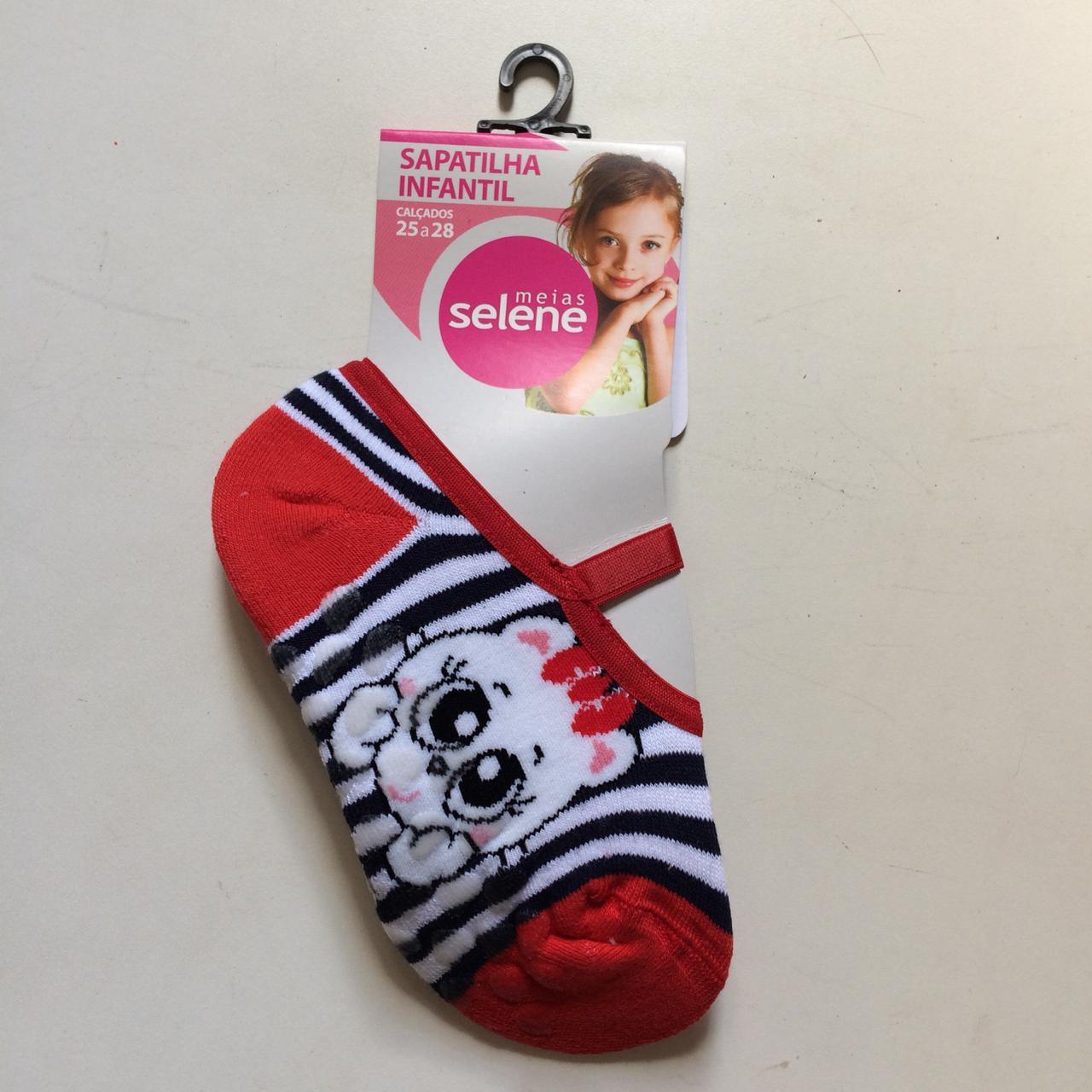 Meia Sapatilha Infantil Vermelha Com Antiderrapante Selene